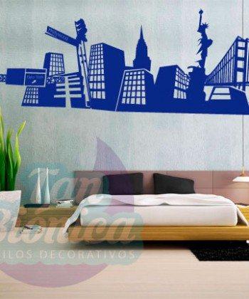 Ciudad de New York, adhesivo decorativo vinilo, sticker para paredes, empavonados y fotomurales.