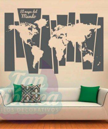 Mapamundi, mapa del mundo para las paredes, diseño y decoración, sticker vinilo adhesivo empavonados y fotomurales
