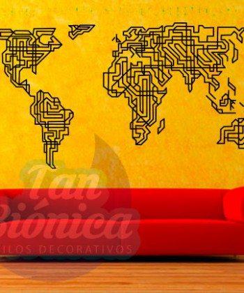 Mapamundi, mapa del mundo para las paredes, diseño y decoración, sticker vinilo adhesivo empavonados y fotomurales, líneas