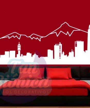 Mapa de Santiago, ciudad de vinilo adhesivo decorativo, sticker de Chile, empavonados y fotomurales
