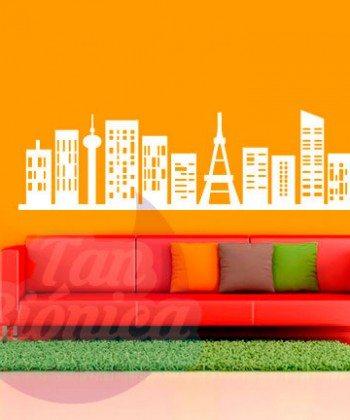 Edificios ciudad adhesivos decorativos vinilos stickers para las paredes, empavonados y fotomurales