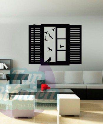Ventana abierta con pájaros volando. Sticker vinilo decorativo, Ventana Falsa, Decoración.