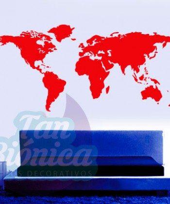 Mapamundi, continentes adhesivos decorativos vinilos para las paredes. Chile Empavonados y fotomurales