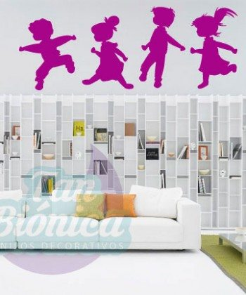 Niños jugando, vinilo adhesivo decorativo infantil, niño niña bebés para las paredes