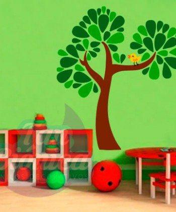Árbol con pájaro, vinilo adhesivo decorativo infantil para niños, niñas, bebés, para las paredes, muebles.