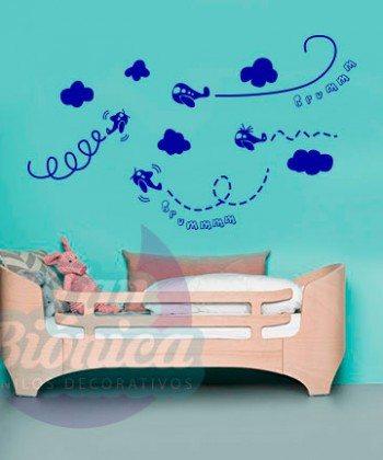 Aviones volando, Adhesivo Decorativo vinilo para niño y niña, infantil para las paredes, decoración.