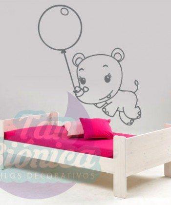 Rinoceronte bebé volando en un globo, vinilo adhesivo decorativo infantil