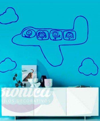 Avión volando en las nubes, adhesivo vinilo decorativo para niño y niña, infantil.