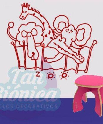 Zoológico con animales, infantil para niños y niñas adhesivos decorativos, fotomurales y empavonados