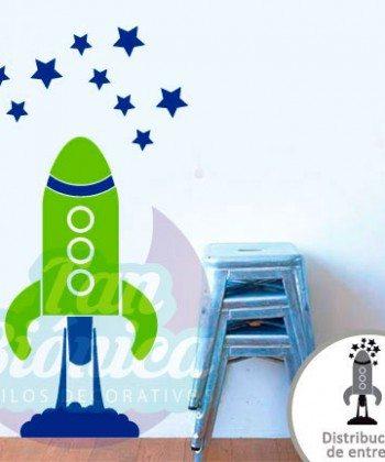 Cohete y estrellas, adhesivo vinilo decorativo, sticker para las paredes niños niñas infantil