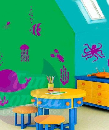 Fondo marino adhesivo sticker infantil vinilo para niños y niñas, bebés