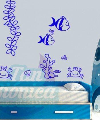 Fondo marino, pulpo adhesivos decorativos infantiles para niños niñas sticker empavonados y fotomurales