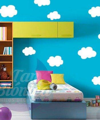 Nubes, infantil niño niña bebé para habitación, Adhesivos Decorativos Vinilo Sticker para paredes. Empavonados y fotomurales
