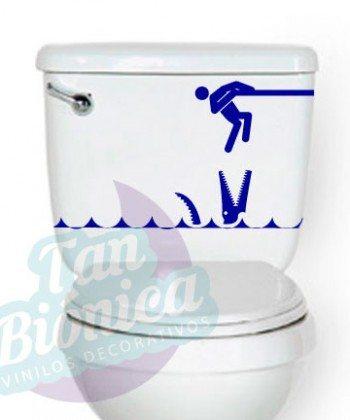 WC Vinilo Adhesivo Decorativo para WC, baño, sticker para el estanque del baño, fotomurales y empavonados económicos y baratos, Chile. cocodrilo