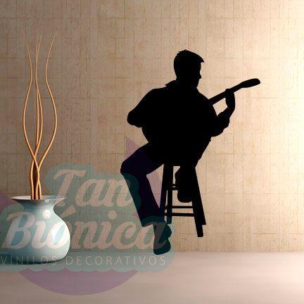 Guitarrista. Vinilos Adhesivos decorativos, stickers, empavonados y fotomurales. Baratos y económicos, Pegatinas para las paredes.
